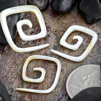 Mother of pearl square spirals