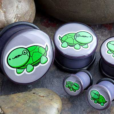 Single Flare Turtle with Mustache and Monocle Plugs