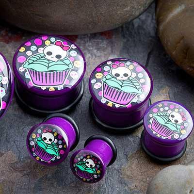 Single Flare Cupcake and Skulls Plugs