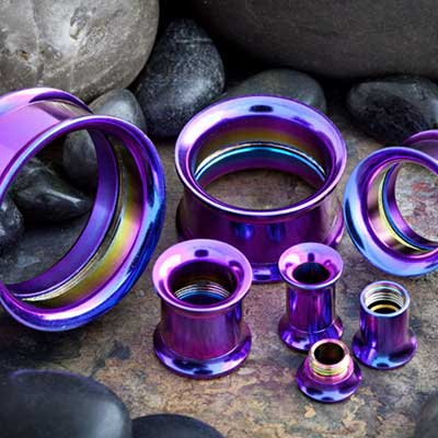 Titanium Plated Internally Threaded Eyelet (Dark Purple)