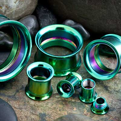 Titanium Plated Internally Threaded Eyelet (Green)
