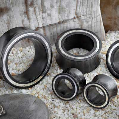 Ebony Wood Eyelets with White Metal Inlays