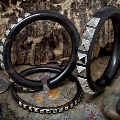 Ebony wood hoops with white metal studs