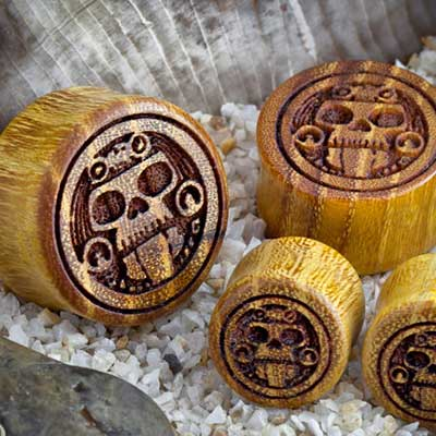 Osage Orange Tribal Skull Plugs