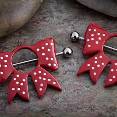 Red polka dot bow nipple shield