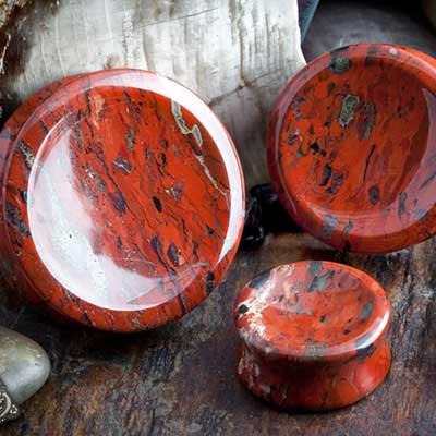 Red brecciated jasper stone concave plugs