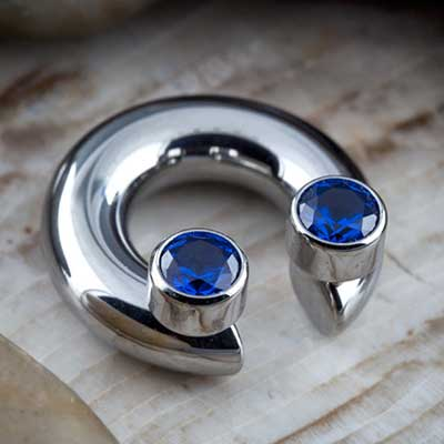 PRE-ORDER Titanium Septum Ring with Bezel Set Threaded Ends