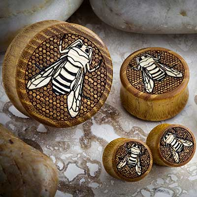 Osage Orange Plugs with Ash Wood Bee Inlays
