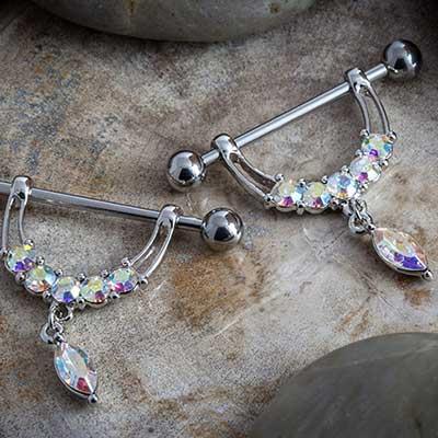 Nipple barbell with gem stirrup