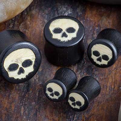 Gaboon Ebony Skull Plugs