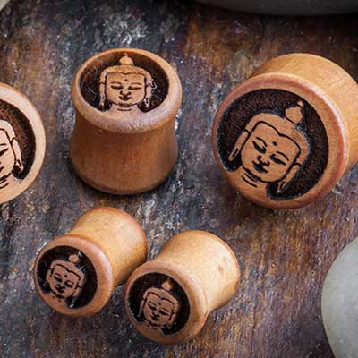 Pear Wood Buddha Plugs
