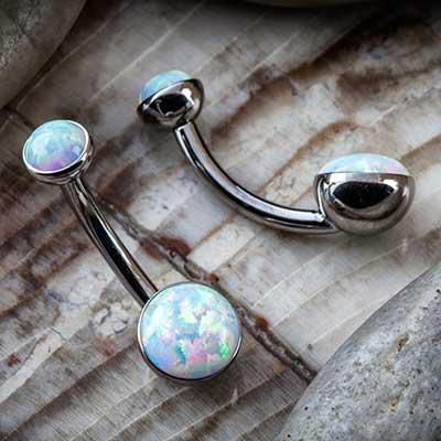 Titanium Bezel Set Double White Opal Navel