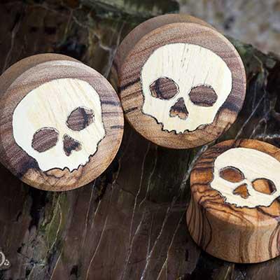 Olivewood Skull Plugs