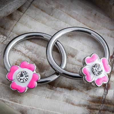 Steel Pink Flower Captive