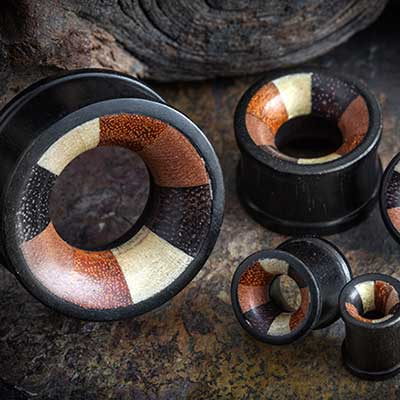 Wood Eyelets with Mixed Wood Inlays