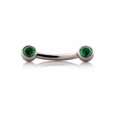 PRE-ORDER Titanium threadless side-gem curved barbell