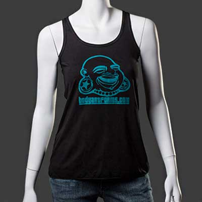 Baf Girl Tank Top (Teal On Black)
