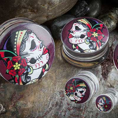 Double Flare Day of the Dead Plugs