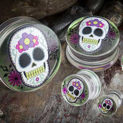 Double Flare Day of the Dead Skull Plug