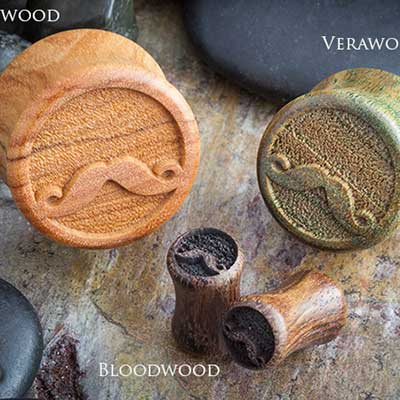 Wood Movember Mustache Plugs