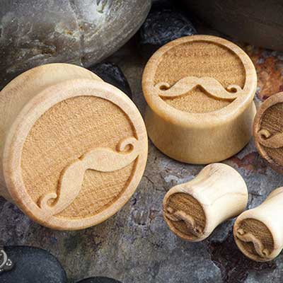 Olivewood Movember Mustache Plugs