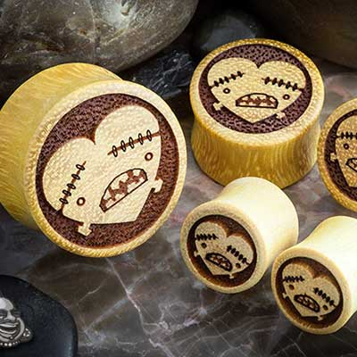 Jackfruit Wood Heart and Bones Plugs