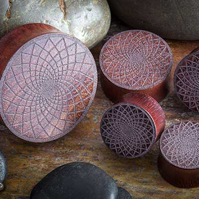 Laser Etched Bloodwood Plugs (Lotus)