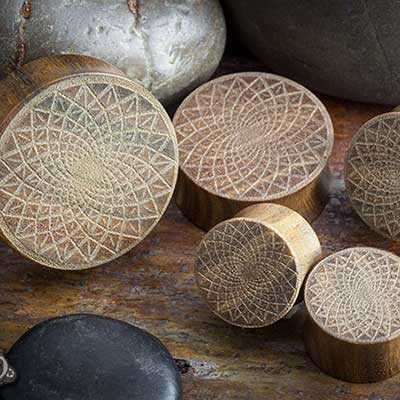 Laser Etched Verawood Plugs (Lotus)