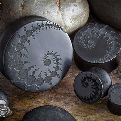 Laser Etched Ebony Wood Plugs (Fractal)