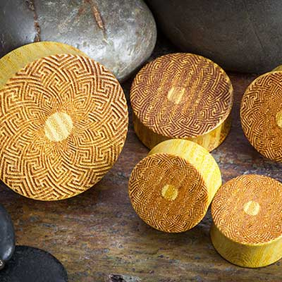 Laser Etched Osage Orange Plugs (Mandala)