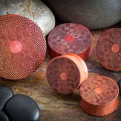 Laser Etched Pink Ivory Plugs (Mandala)
