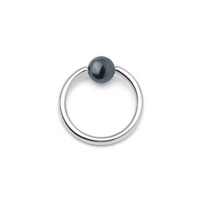 PRE-ORDER Steel Captive Ring with Hematite Bead