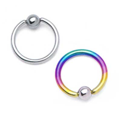 PRE-ORDER Titanium Captive Ring with Steel Bead
