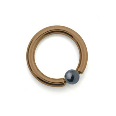 PRE-ORDER Titanium Captive Ring with Hematite Bead