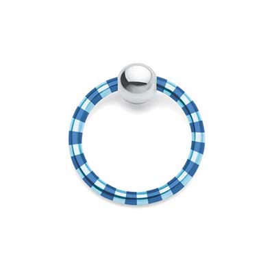 PRE-ORDER Candy Stripe Captive Ring with Steel Bead