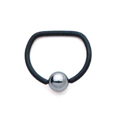 PRE-ORDER Niobium D Ring with Steel Bead