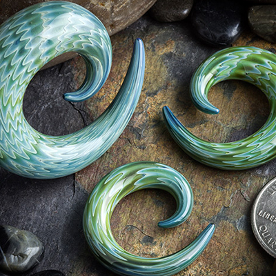 Striped Glass Spirals (Ocean Water)