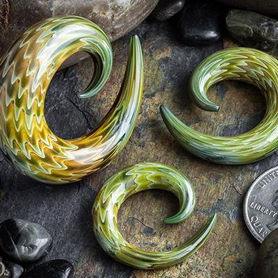 Striped Glass Spirals (Moss Green)