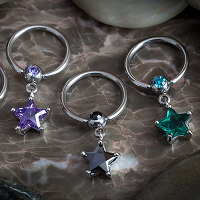 Captive with star gem dangle