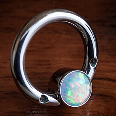PRE-ORDER Titanium Septum Ring with Gemmed Bezel (No Threaded Ends)