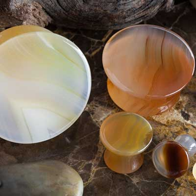 Blemished Mayan Flare Stone Plugs (Thunder Egg Agate)