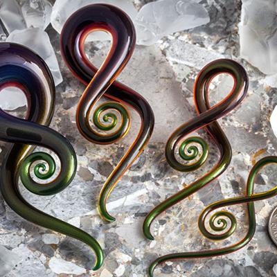 Pyrex glass squids (Twilight amber)
