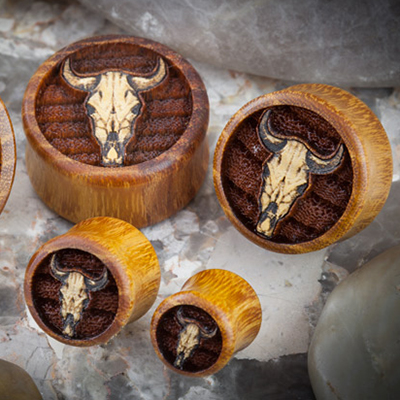 Osage Orange Bull Skull Plugs