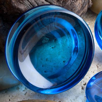 Double sided concave glass plugs (Blue quartz)
