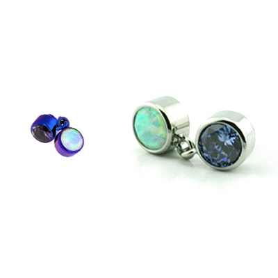 PRE-ORDER Titanium bezel set dangle threaded end