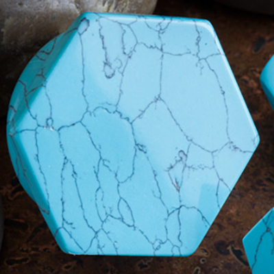 Synthetic Turquoise Hexagon Plugs