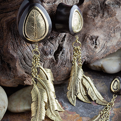 Areng Wood Feathers Hanging Teardrop Plugs