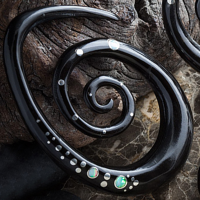 Black Horn Oval Spirals with Silver and White Opal Inlays