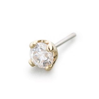 PRE-ORDER 14k gold threadless prong set end