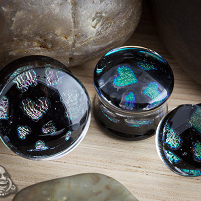 Pyrex Glass Hearts Pattern Foil Plugs